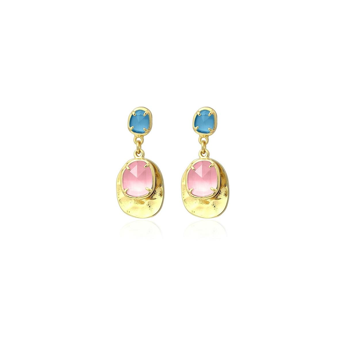 Pendientes Anartxy Dorados Rosa-Azul Mujer APE991RS