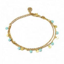 Collar Doble Disco Oro bicolor 18K