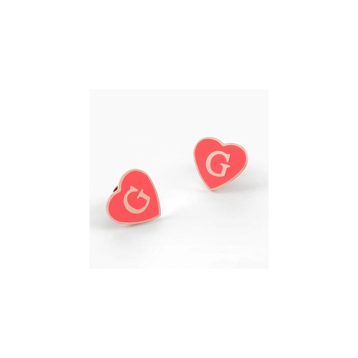 Pendientes Guess Corazón Rosa UBE70257