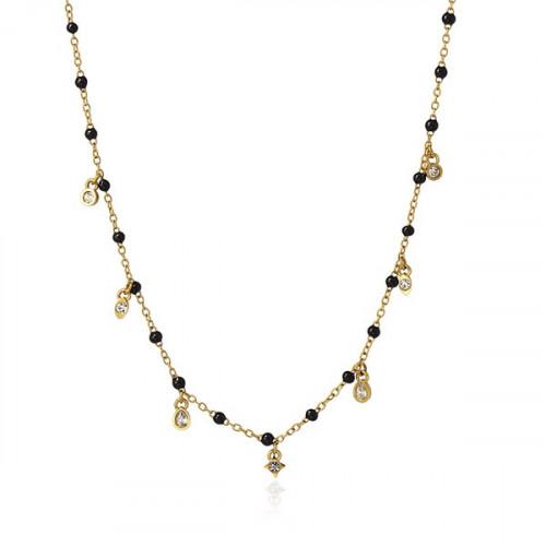 Collar Anartxy Bolitas Negras BCO126D