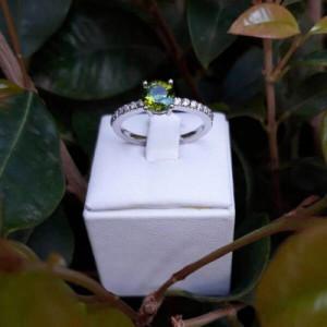 Anillo Turmalina y Diamantes Compromiso Pedida